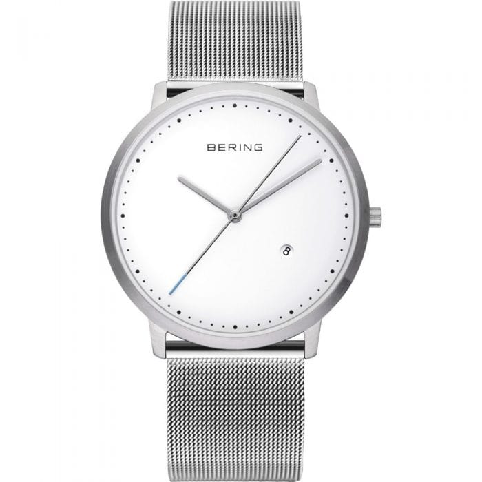 BERING Silver Polished Silver & White Milanese Mesh 39mm Watch