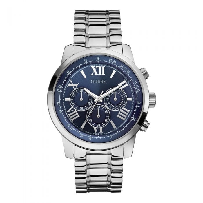 GUESS Silver & Blue Dial Watch