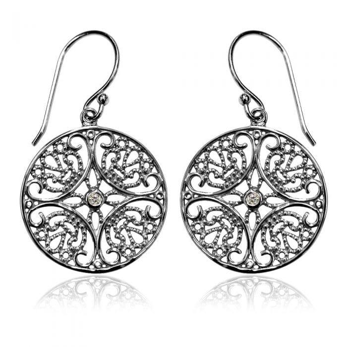 Grace & Co Lace Silver Filigree Drop Earrings