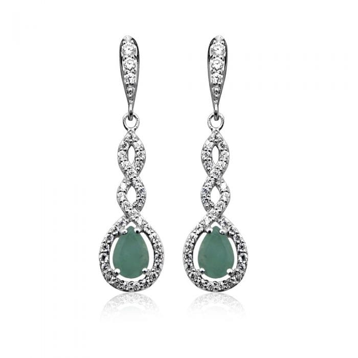 Grace & Co HOPE Silver CZ with Green Emerald Teardrop Earrings