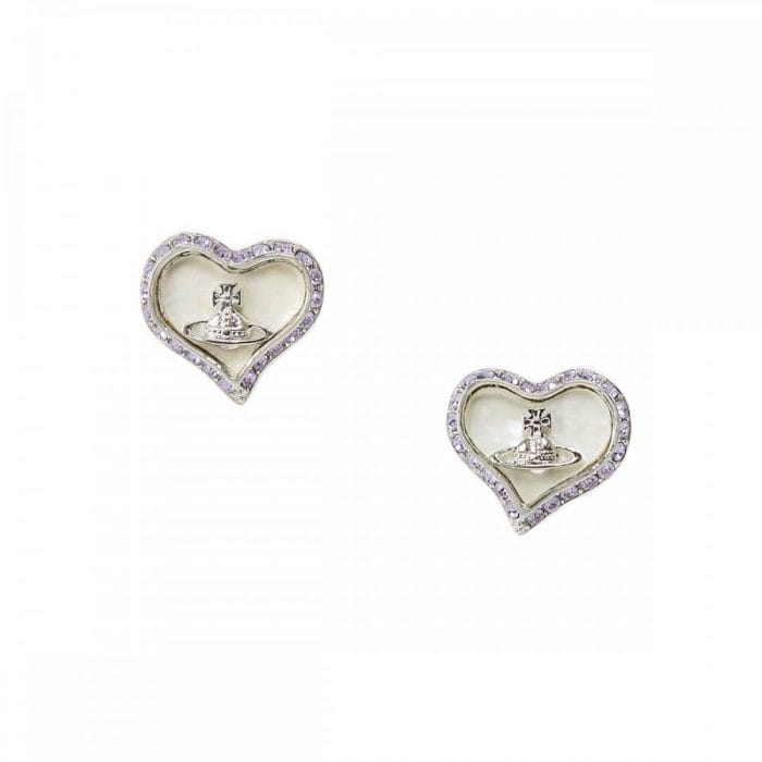 Vivienne Westwood Silver CZ With Ivory Background Earrings