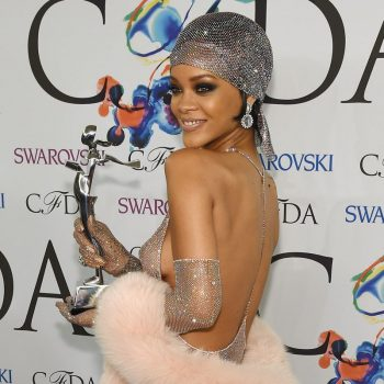 Rihanna wearing a dress with thousands of Swarovski crystals