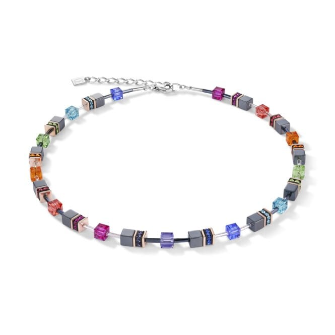 A Rainbow Crystal GeoCUBE Necklace created by Coeur de Lion - This necklace is a great gift idea for a colourful and free-spirited Mum.