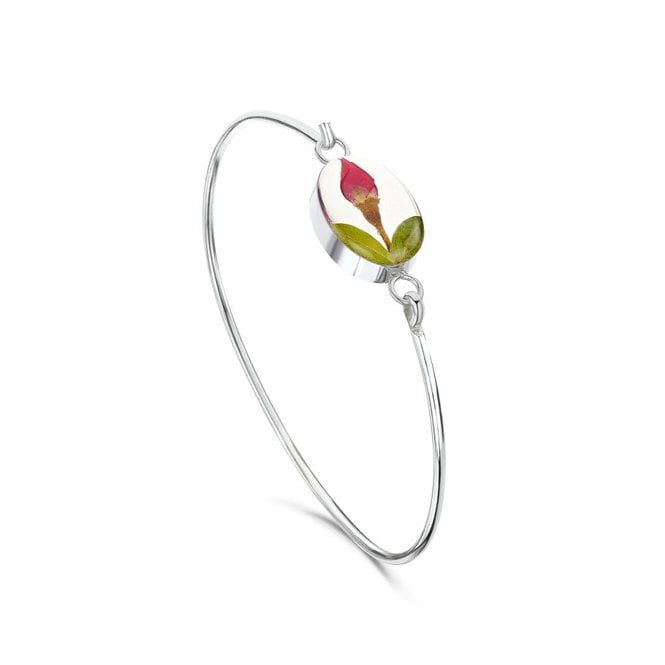 Shrieking Violet Rose Bud Silver Bangle - A great gift idea for the nature or flower-loving Mum.