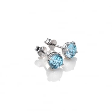 Silver & Blue Topaz December Birthstone Earrings