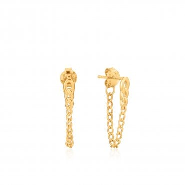 Chain Reaction - Curb Chain Stud Earrings in Yellow Gold