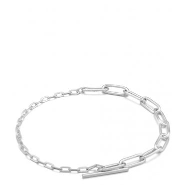 Chain Reaction - Mixed Link T-Bar Bracelet in Rhodium Silver