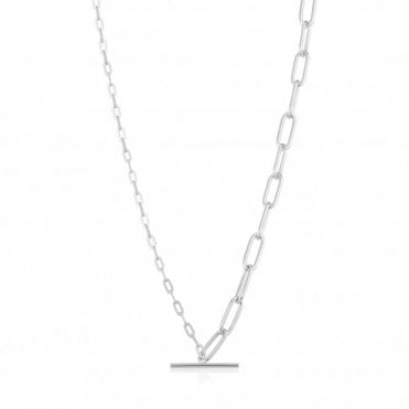 Chain Reaction - Mixed Link T-Bar Necklace in Rhodium Silver