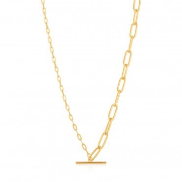 Chain Reaction - Mixed Link T-Bar Necklace in Yellow Gold