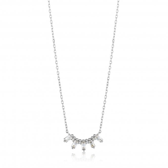 Ania Haie Glow Getter - Glow Solid Bar Necklace in Rhodium Silver
