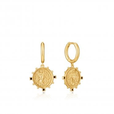 Gold Digger - Victory Goddess Mini Hoop Earrings in Yellow Gold