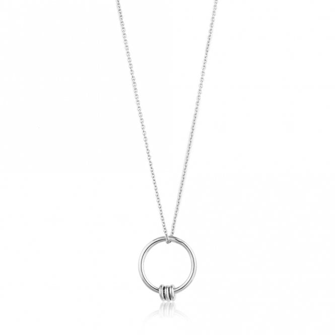 Ania Haie Modern Minimalism - Modern Circle Necklace in Rhodium Silver