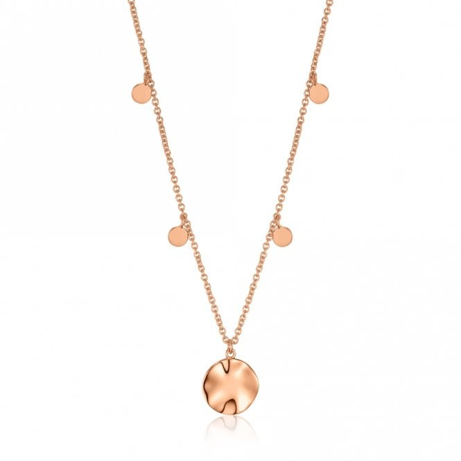 Ania Haie Texture Mix - Ripple Drop Discs Necklace in Rose Gold