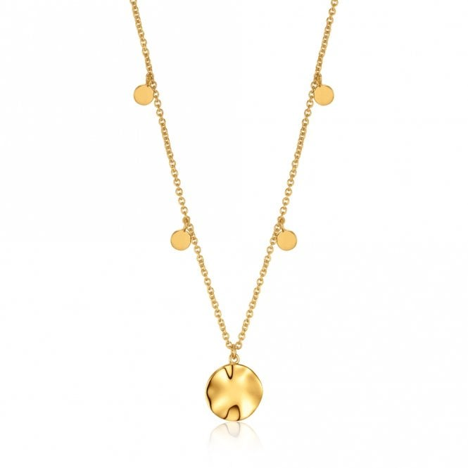 Ania Haie Texture Mix - Ripple Drop Discs Necklace in Yellow Gold