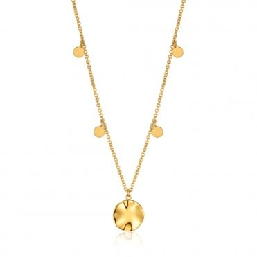 Texture Mix - Ripple Drop Discs Necklace in Yellow Gold