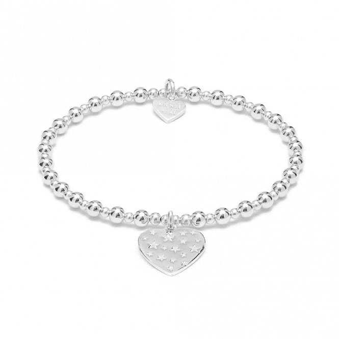 Annie Haak Mini Orchid Silver Charm Bracelet - Heart with Stars, 19cm