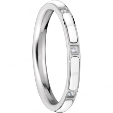 Silver White Ceramic White CZ Ring - Slim Inner 9