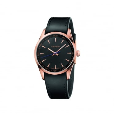 Bold Rose Gold Black & Black Leather Men's Watch