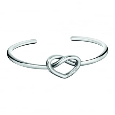 Charming Silver Open Bangle, M