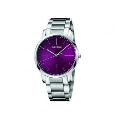City Purple & Brushed Silver Men's Watch