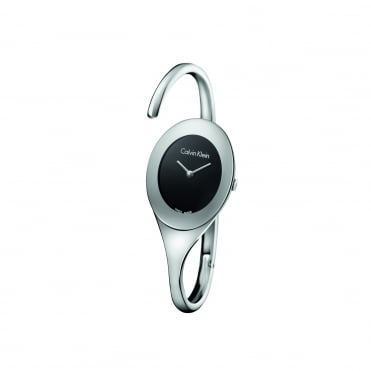 Embrace Silver & Black Bangle Watch