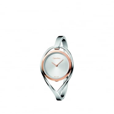 Light Rose Gold & Silver Ladies Bangle Watch