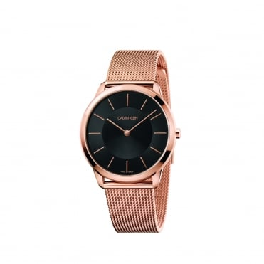Minimal Rose Gold & Black Mesh Watch