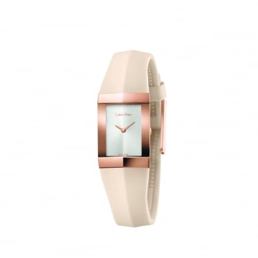 Shape Silver & Beige Silicone Ladies Watch