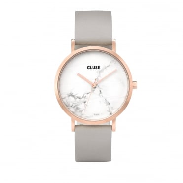 La Roche Rose Gold White Marble & Grey Watch