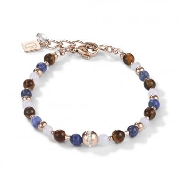 Chalcedony, Crystal, Tigers Eye, and Sodalite Bead Bracelet