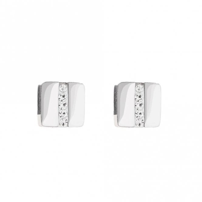 Coeur de Lion Clear Crystal Stripe Stud Earrings