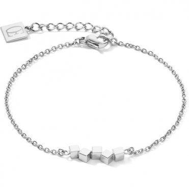 Dancing GeoCUBE® small stainless steel silver bracelet