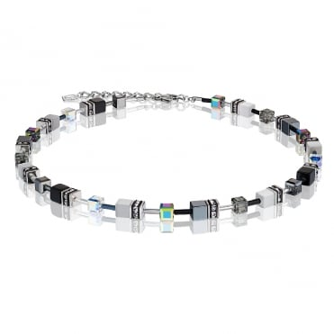 Geo Cube Black & White Crystal Necklace