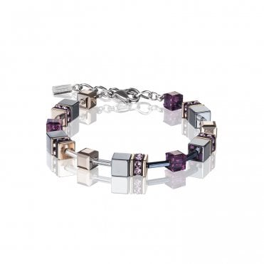 GeoCUBE Amethyst Purple and Black Bracelet