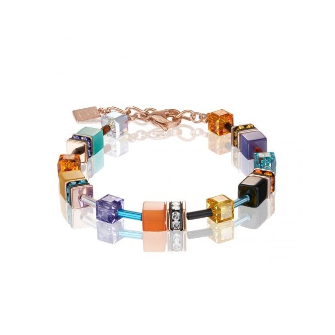 Coeur de Lion GeoCUBE Coral and Turquoise Multicoloured Bracelet