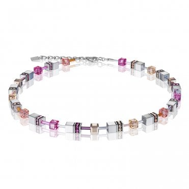 GeoCUBE Peach and Rose Pink Multicoloured Necklace