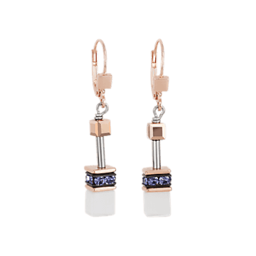 GeoCUBE Rose Gold and Purple Crystal Drop Earrings