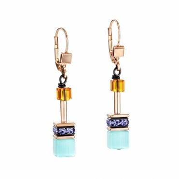GeoCUBE Rose Gold and Turquoise Blue Crystal Drop Earrings
