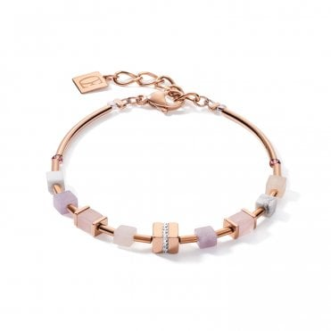 GeoCUBE® Rose Gold, Lilac, Crystal and White Demi Bracelet