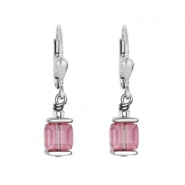 GeoCUBE Silver and Rose Pink Crystal Drop Earrings