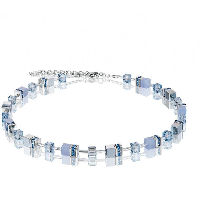 Coeur de Lion Light Blue Chalcedony & Haematite Crystal GeoCUBE Necklace