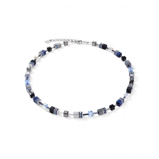 Coeur de Lion Light Blue, Dark Blue & Haematite Crystal GeoCUBE Necklace