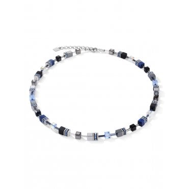 Light Blue, Dark Blue & Haematite Crystal GeoCUBE Necklace