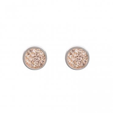 Light Peach Crystal Pave Stud Earrings