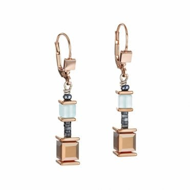 Mint Green, Haematite and Rose Gold GeoCUBE Drop Earrings