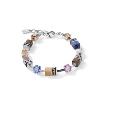 Natural Toned Crystal GeoCUBE Bracelet in Steel