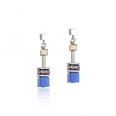 Natural Toned Crystal GeoCUBE Drop Earrings in Blue and Lilac