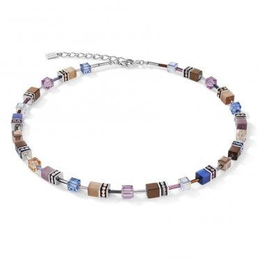Natural Toned Crystal GeoCUBE Necklace in Steel