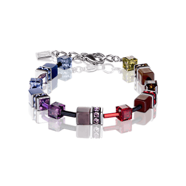 Purple, Red and Blue Crystal GeoCUBE Bracelet in Steel