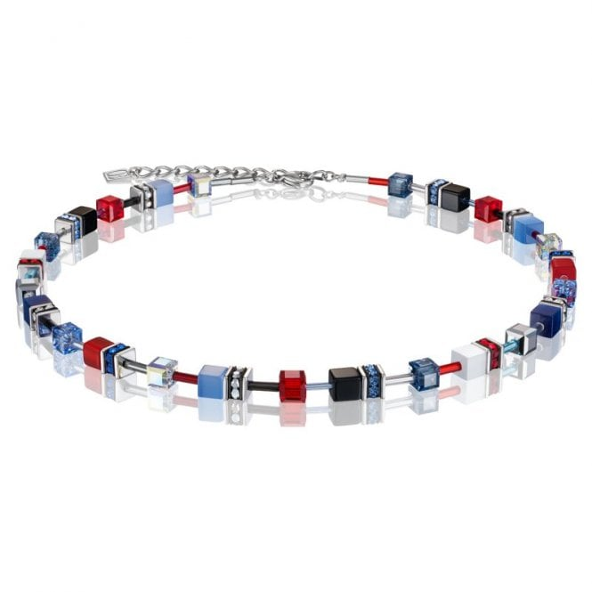 Coeur de Lion Red, Purple and Blue Jewel Crystal GeoCUBE Necklace